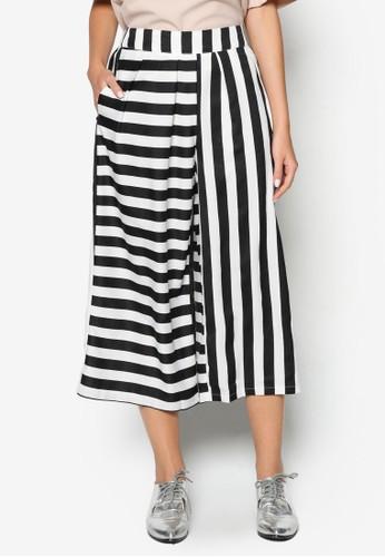 條紋zalora時尚購物網評價闊管七分褲, 服飾, 長褲及內搭褲