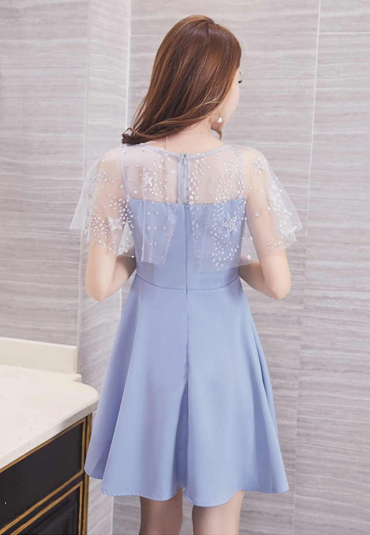 Shoulder Dress A071111 Blue Sunnydaysweety New See Through Blue 2017 EqxfXCqw