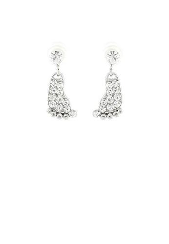 Glamorousky silver Elegant Footprint Earrings with Silver Austrian Element Crystals D8AB8AC1B586A7GS_1