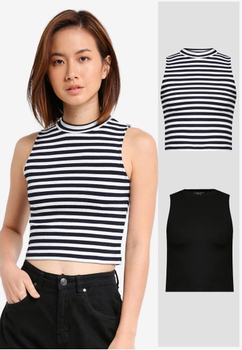 7e28074b8c0872 Shop ZALORA BASICS 2 Pack Essential Mock Neck Tank Online on ZALORA  Philippines