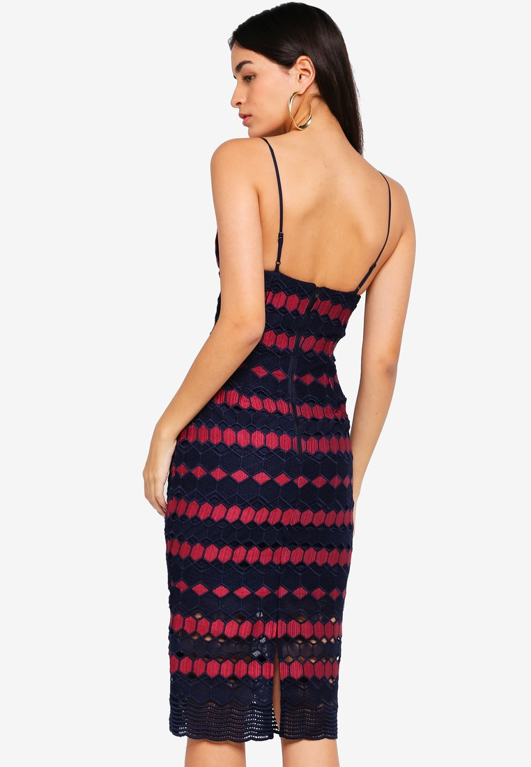 Bardot Burgundy Dress Navy Diamond Lace qOaXTR