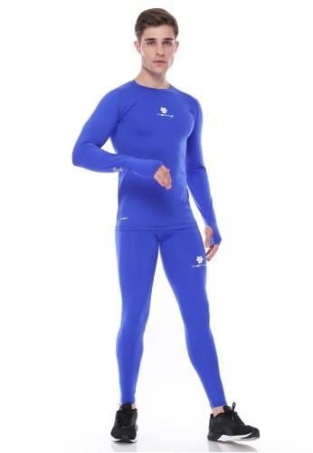 Jual Tiento Tiento Men Manset Olahraga Thumbhole Blue Lubang Jempol Dan Celana Legging Pria Blue 1 Set Original Zalora Indonesia