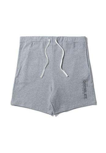:CHOCOOLATE grey Vertical logo sweat shorts B5597AA4C4A795GS_1
