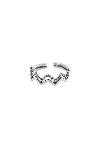 OrBeing 白色 Premium S925 Sliver Geometric Ring C9904ACF85CF0DGS_1
