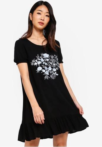 Something Borrowed black Embroidered Flutter Hem Dress 18950AA784F1A0GS_1