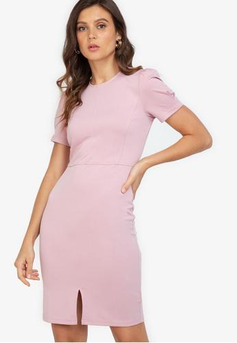 ZALORA WORK pink Puff Sleeve Dress With Slit E8E3DAA3E618D9GS_1