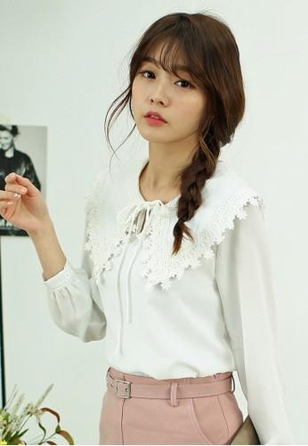Alana 蕾絲造型領長袖上衣, 韓系時尚, esprit台灣網頁梳妝