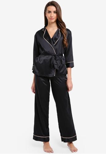 Bluebella black Wren Kimono and Trousers Set 46AF5AA0C33E2FGS_1