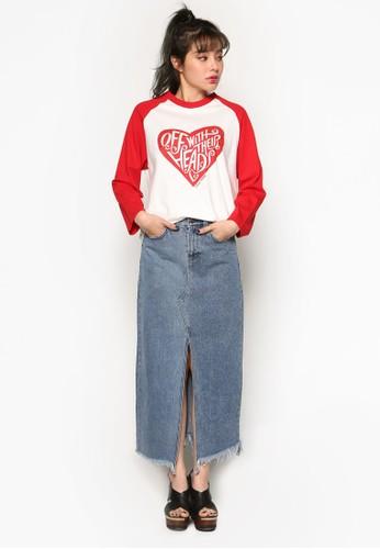 Aliesprit 台北ce 心型圖案棒球風七分袖衫, 服飾, 上衣