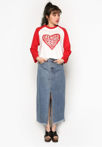 Alicesprit outlet 旺角e 心型圖案棒球風七分袖衫, 服飾, 上衣