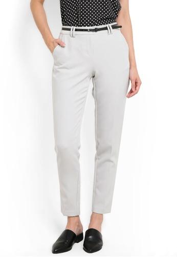 Dorothy Perkins grey Grey Belted Slim Leg Trousers DO816AA62UXXMY_1