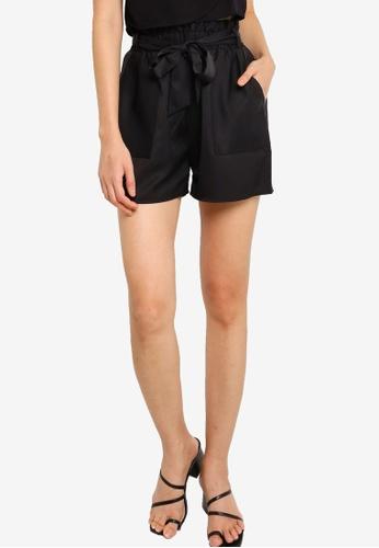 ZALORA BASICS black Paperbag Shorts 61BDBAA8BBBF47GS_1
