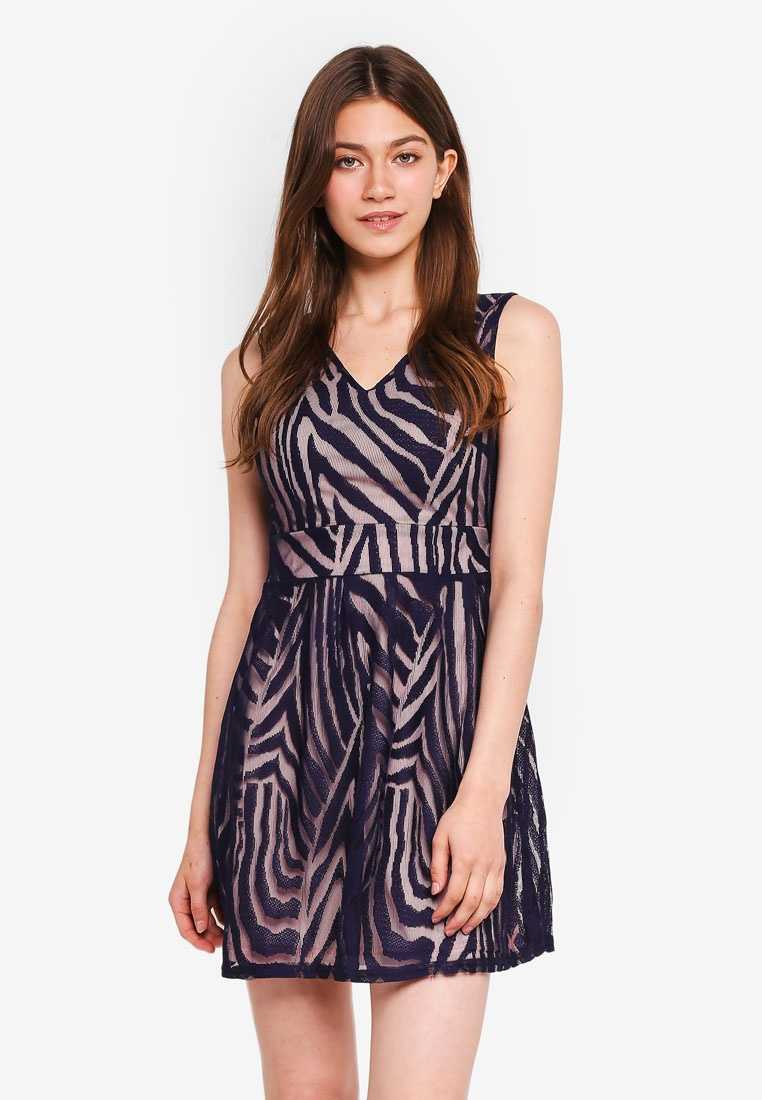 London Stripe Abstract Navy Lace Dress Mela xwFqqgIp
