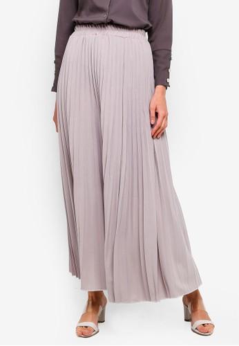 BYN grey Pleated Maxi Skirt F884CAAC7D6618GS_1