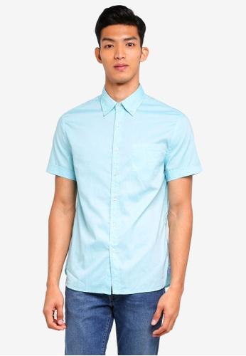 MANGO Man blue Regular-Fit Cotton Short Sleeve Shirt 4A263AA637D9B8GS_1