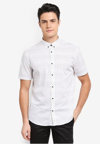 G2000 white 2 Tone Dot Print Short Sleeve Shirt 3B2D6AA7EF0628GS_1