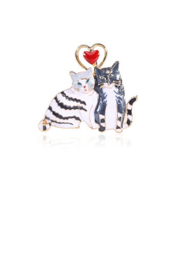 Glamorousky silver Simple and Romantic Plated Gold Cat Heart-shaped Brooch 7C21BACA5333B6GS_1
