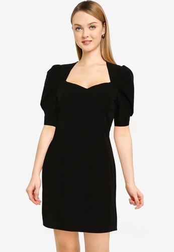 URBAN REVIVO black French Puff Sleeve Dress 6599EAA17554C5GS_1