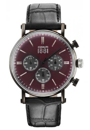 CERRUTI 1881 black Tremezzo Chronograph Black Strap Burgundy Dial Men Watch CE514AC34QORMY_1