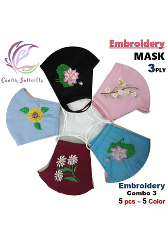 Cantik Butterfly multi Embroidery Mask 3Ply Reuseable Washable Face Mask Non Surgical Mask (Embroidery Combo 3: Lotus Black 1pcs + Apricot Flowers Pink 1pcs + Lotus Blue 1pcs + Daisy Red 1pcs + Sunflower Blue 1pcs) E0735ESEBCF962GS_1