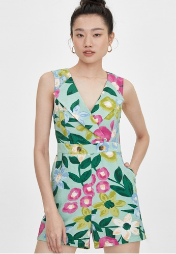 Pomelo green Wide V Neck Collared Floral Romper - Green BD87EAA77EF596GS_1