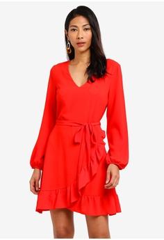 f30aa99688a6d Dorothy Perkins red Red Ruffle Wrap Fit And Flare Dress 1469BAA93A18A3GS_1