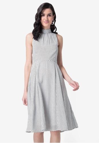 FabAlley white White Polka Back Tie Halter Dress B0DD2AAA01E22BGS_1