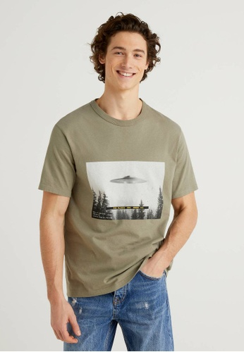 United Colors of Benetton green Printed T-shirt A7E6CAAA467458GS_1