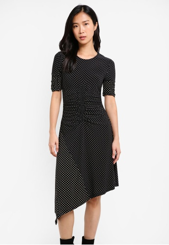 TOPSHOP black Polka Dot Ruched Midi Dress TO412AA0SHHSMY_1