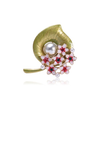 Glamorousky red Fashion and Elegant Green Calla Flower Imitation Pearl Brooch with Cubic Zirconia 11D06AC5D7575AGS_1