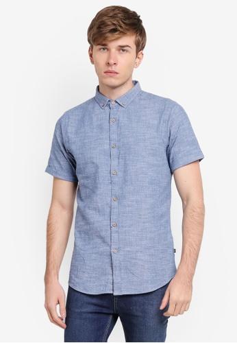 Penshoppe blue Dobby Shirt With Button-Down Collar PE124AA0SN1QMY_1
