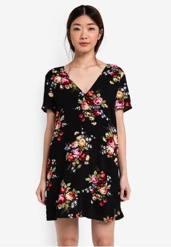 Something Borrowed black V-Neck Cross Back Shift Dress 34CD7AAC5E3A58GS_1