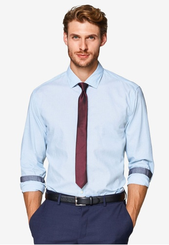 ESPRIT 藍色 質感長袖襯衫 8AFE4AA557133EGS_1