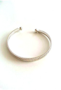 Silver Cuff in Braid