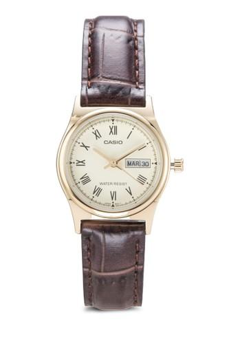 esprit 品牌Casio LTP-V006GL-9BUDF 皮革小圓錶, 錶類, 飾品配件