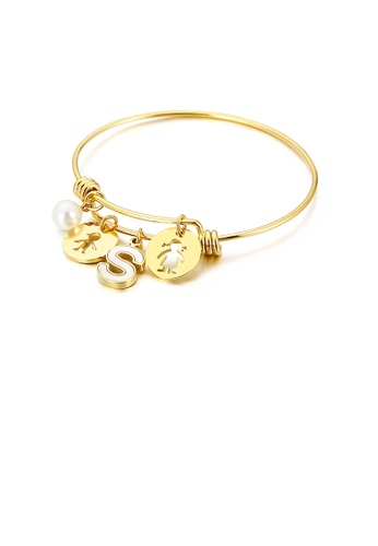 Glamorousky white Fashion Creative Plated Gold English Alphabet S Round Cartoon Character 316L Stainless Steel Bangle with Imitation Pearls DBAD3AC67F7E4AGS_1