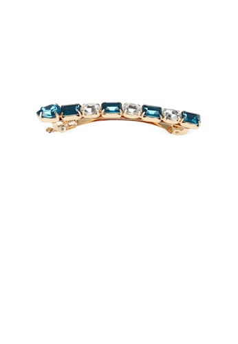 Glamorousky blue Fashion and Simple Plated Gold Geometric Hair Clip with Dark Blue Cubic Zirconia 8CB0DACAF01065GS_1