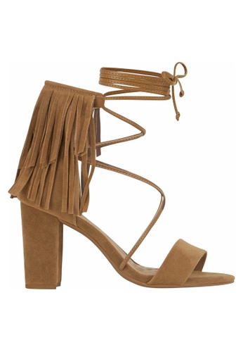 Beira Rio brown Fringed Tie Up Block Heeled Sandal BE995SH11ERGHK_1