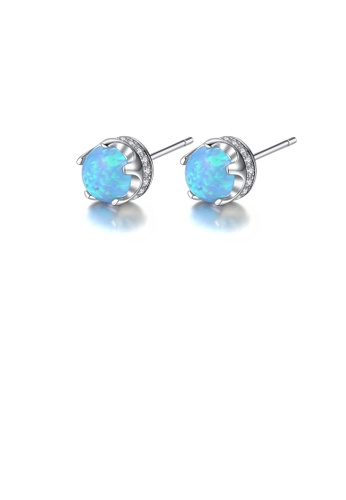 Glamorousky white 926 Sterling Silver Simple Classic Geometric Round Blue Imitation Opal Stud Earrings with Cubic Zirconia 41465AC263AE5EGS_1
