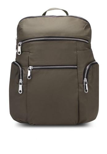 NUVEAU green Lightweight Nylon Backpack NU245AC0S66TMY_1