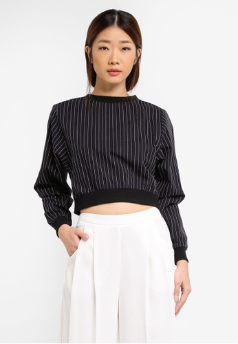 Something Borrowed black Rib Trim Striped Cropped Top 8AFE5AA00EE4F7GS_1