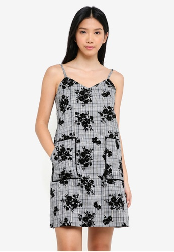 ZALORA grey Checkered Dress With Floral Flocking 8FC89AA2B37DF3GS_1