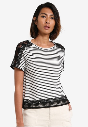 TOPSHOP black and white Lace Trim T-Shirt TO412AA0RY2VMY_1