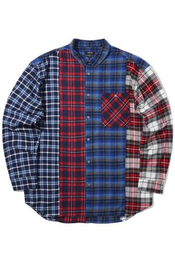 Fivecm navy Contrast checked shirt 80AECAA458C21FGS_1
