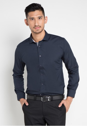 EDITION navy Essential Slim Shirt 382A1AAD440A55GS_1