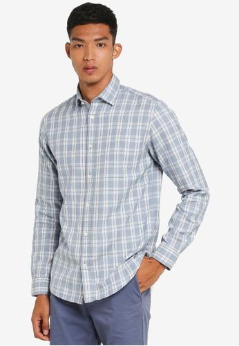Selected Homme 藍色 長袖格紋襯衫 0FBBFAA5D8A3C9GS_1