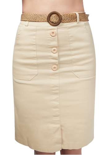 London Rag white Cream Front Slit Pencil Skirt C1321AA6A4C0E3GS_1