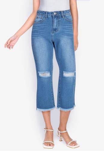 ZALORA BASICS blue Side Slit Distressed Boyfriend Jeans 442F8AA599EB07GS_1