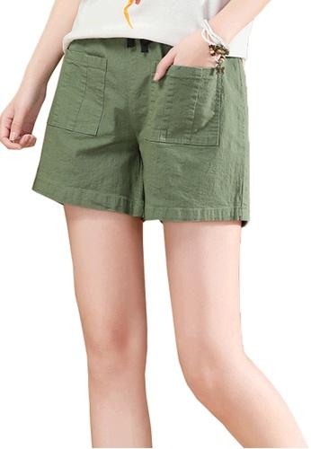 A-IN GIRLS green Elastic Waist Casual Shorts 19B1FAACA405EBGS_1