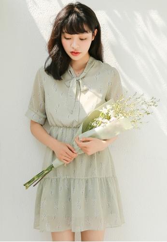 Shopsfashion green Floral Printed Mini Dress D2D2BAA339A545GS_1